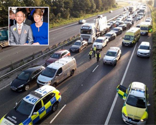 The scene after the crash on the M56 and, inset, Richard and Angela Wong