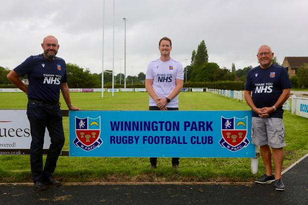 From left, Winnington Park Rugby Club's Paul Dean, chairman; Ryan Williams, first-team player and fundraiser; Brian Concannon, president