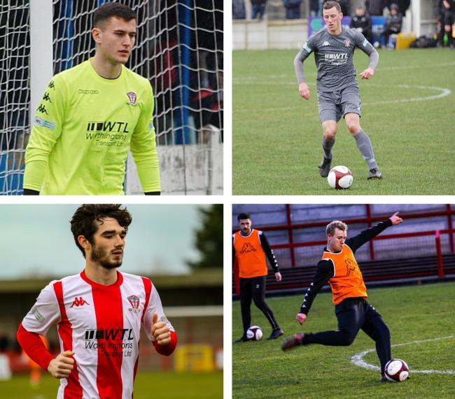 Clockwise, from top right, Chris Renshaw, Tom Owens, Will Booth and Danny McKenna have all committed to Witton Albion for the coming season. Pictures by Karl Brooks Photography