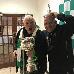 Chairman Brian Turner and manager Steve Wilkes celebrating winning the Mid-Cheshire Senior Cup. Picture by Angela Buckley