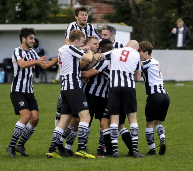 Barnton celebrate one of four goals scored in the historic win against Swallownest. Picture: Rob Hardley