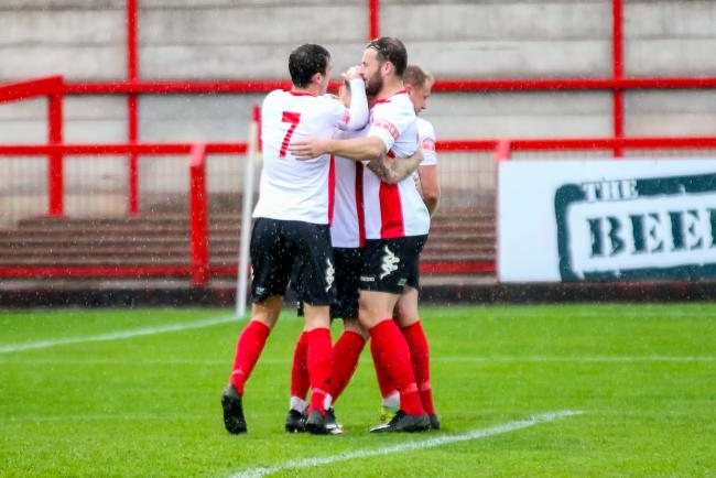 Witton celebrate James Foley's 16th-minute penalty. Picture: Karl Brooks Photography