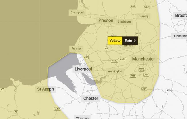The Met Office has issued a weather warning for heavy rain on Sunday.