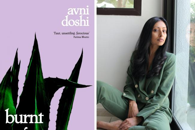 Avni Doshi with the cover of her book Burnt Sugar