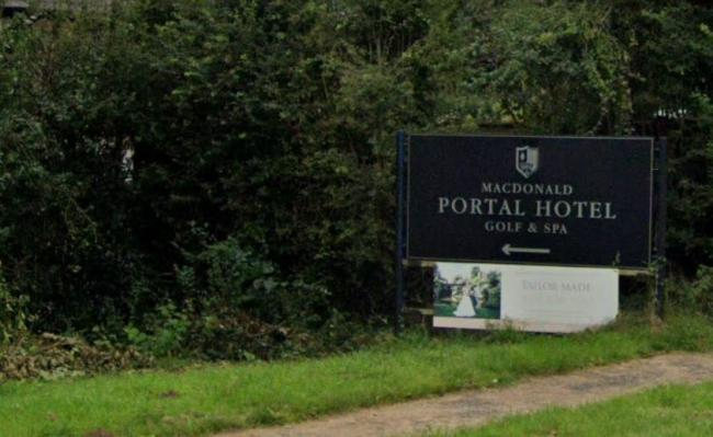 Matt and Lucy were on a public footpath which runs alongside the fairway at the Macdonald Portal Hotel Golf Club. Image: Google Maps