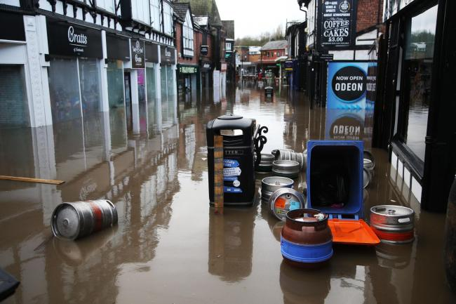 The scene in the town centre during the floods. Image: Matt Sayle