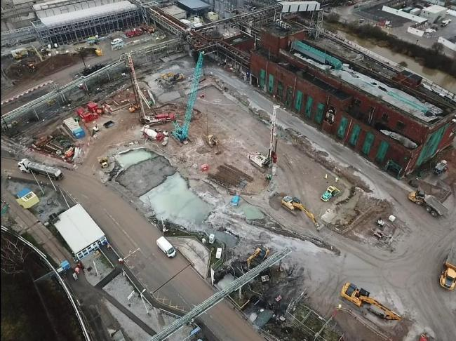 An aerial shot of the work at Lostock sustainable energy plant
