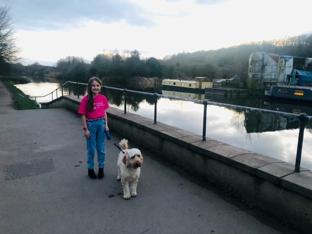 Charley walked every day with her mum and Cockapoo Bobbie