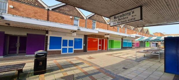 Northwich Guardian: Cllr Sam Naylor posted this picture of the empty units on Weaver Square which have also been given a colurful lick of paint.