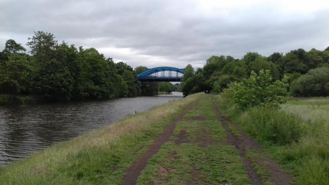 View along the River Weaver to Hartford blue bridge