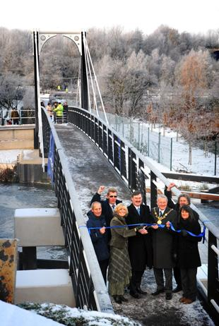 Cutting the tape to open Riversdale Bridge