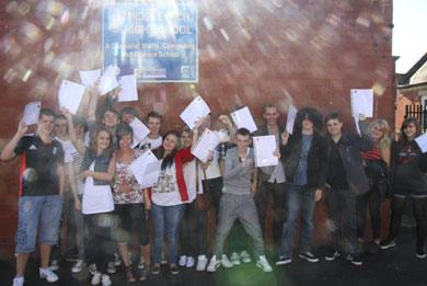 Pupils celebrating outstanding GCSE results today