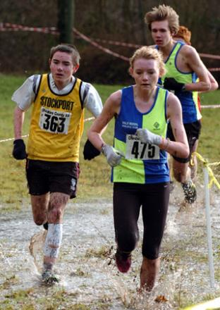 Megan Huxley battled testing conditions to win the U17s girls' race at Forest Road in Warrington during last year's Cheshire County AA Cross Country Championship. Picture: Ian Park.