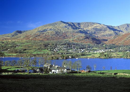 Northwich Guardian: Looking across Coniston Water to Coniston Village and Coniston Old Man