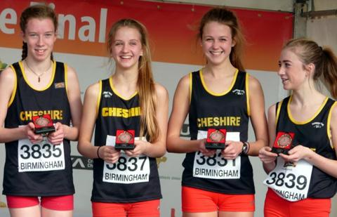 Jessica Parsons, second from left, and Katie Gerrard, third from left, have been invited to run for an England schools representative team.