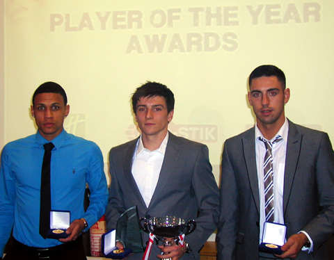 From left, Witton Albion's award winners Mathew Wood, Alex Titchiner and Anthony Gardner.