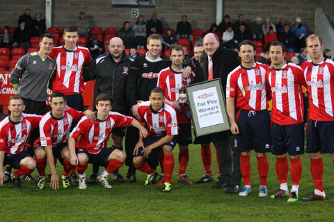Evo-Stik NPL management committee member Steve Hobson with Witton Albion's players before kick off on Monday.