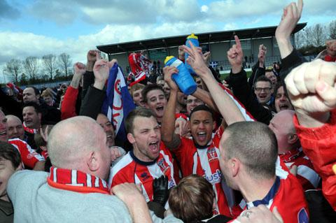 Witton Albion players celebrate winning April's play-offs final against Curzon Ashton.