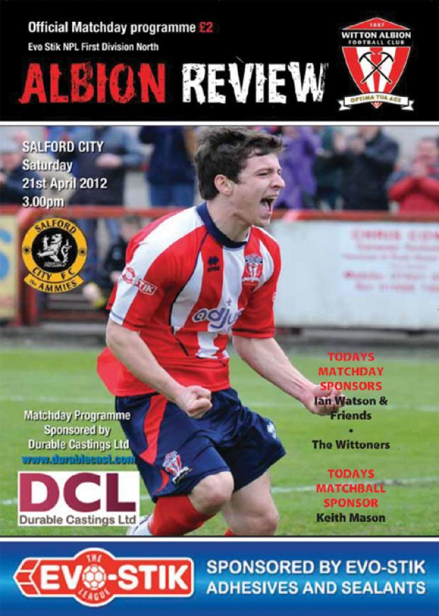 Albion Review front cover from last season's home encounter with Salford City.