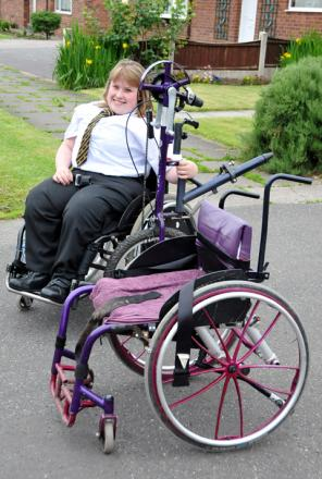Amy, 15, has outgrown her current chair and the replacement will cost £3,600