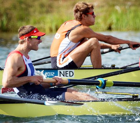 Matthew Langridge on the water in Team GB colours during Saturday's heats. Picture: Jessica Mann.