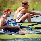 Matthew Langridge rows as part of Team GB's men's eight in Monday's repechage. Picture: Jessica Mann.