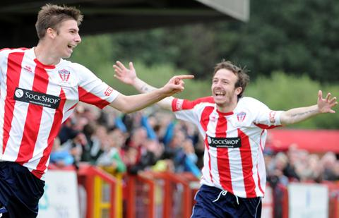 Ben Harrison, left, celebrates his goal with Shaun Tuck.