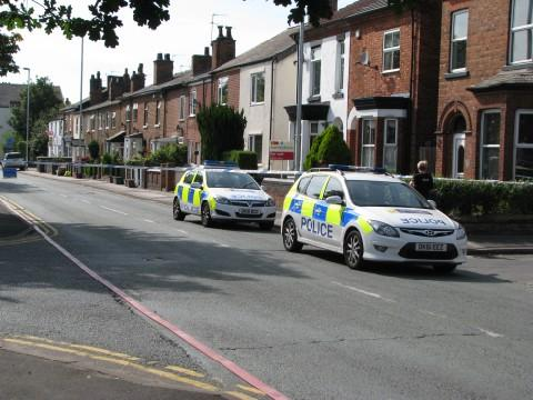 Police at the scene on Manchester Road