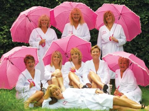 The calendar girls in action: Jackie Ellis, Caroline Powel, Margaret Harris, Jackie Davis, Jackie Keisak, Wendy Draw, Stella Sandbach, Linda Hughes and Camilla Thomas.