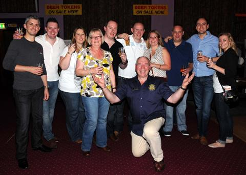 Rotarian Steve Wheat with revellers at the beer
