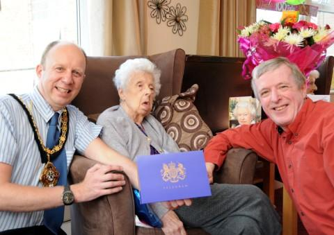 Nan Holland was joined by her son John and Winsford mayor Clr Steve Smith