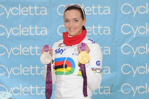 Victoria Pendleton cycles with the Cheshire set