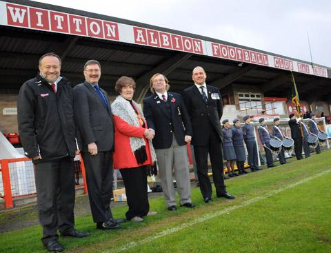 Witton Albion chairman Mark Harris, left, with representatives from both councils, Help for Heroes and the Royal British Legion.
