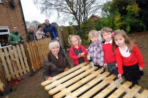 Children at Lostock Tiny Tots will benefit from a new and improved outdoor area thanks to staff at Barclays Bank