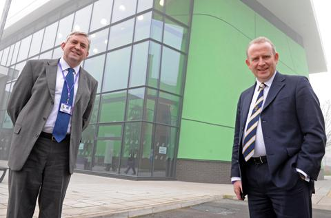 John Reilly, principal of Mid Cheshire College, with Graham Evans, MP for Weaver Vale.