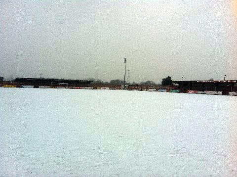 The scene at Witton Albion's Wincham Park on Friday morning.