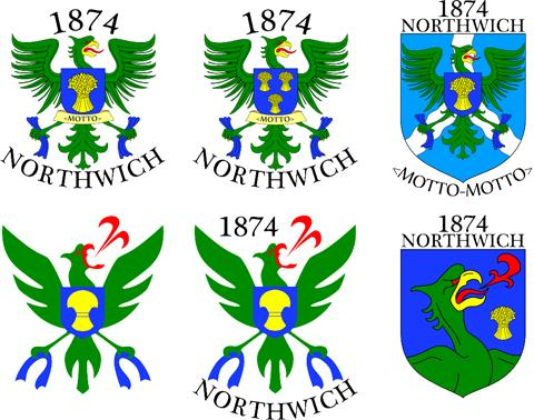 The six options for an 1874 Northwich badge designed by Luke Bushnell-Wye.