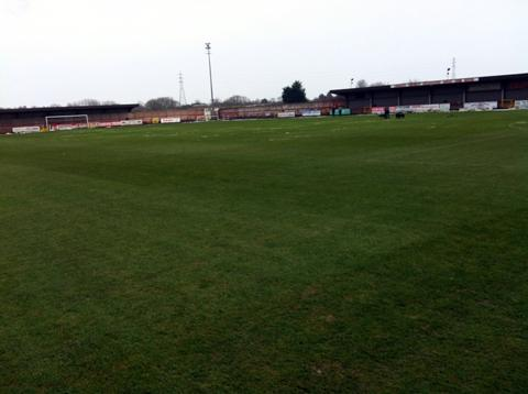 The scene at Wincham Park this afternoon when referee John Dowd inspected the pitch.