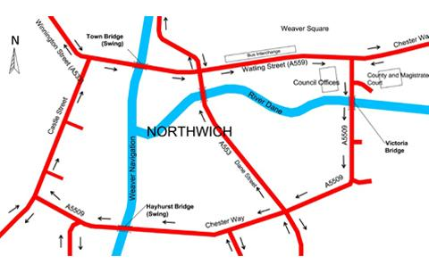 The proposed Northwich town centre gyratory