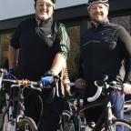 Andy Dunn and Jon Wade get ready for their London to Paris bike ride