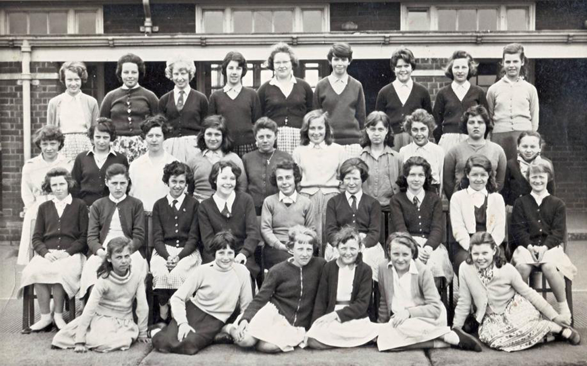 Rudheath Comprehensive's class of 1962 with Thelma Egerton, fourth from left on the front row