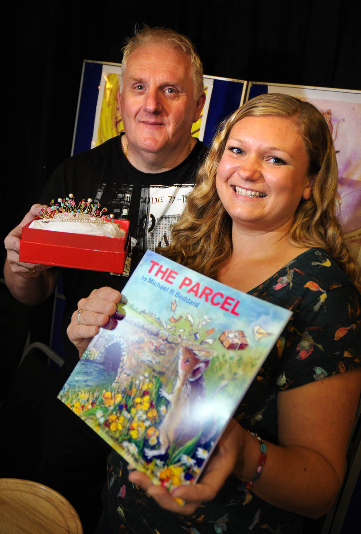 Mike Beddard, author of The Parcel, with illustrator Rebecca Yoxall.
