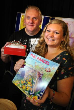 Artist Rebecca Yoxall with author Michael Beddard, who is also coming to the craft fair.