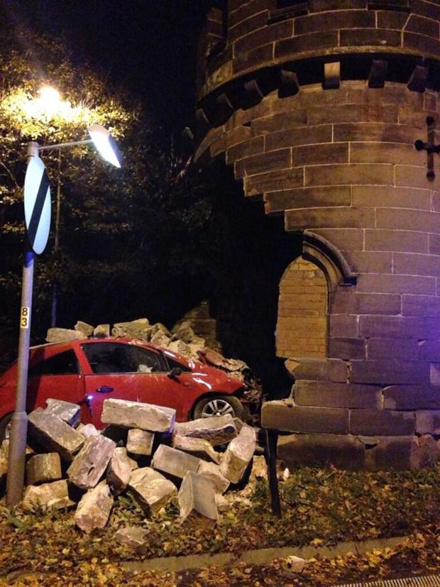 Northwich Guardian: The crash scene in November before the Round Tower was demolished.
