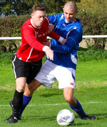 Matthew Woolley in action for Knutsford during a Cheshire FA Amateur Cup tie earlier this season.
