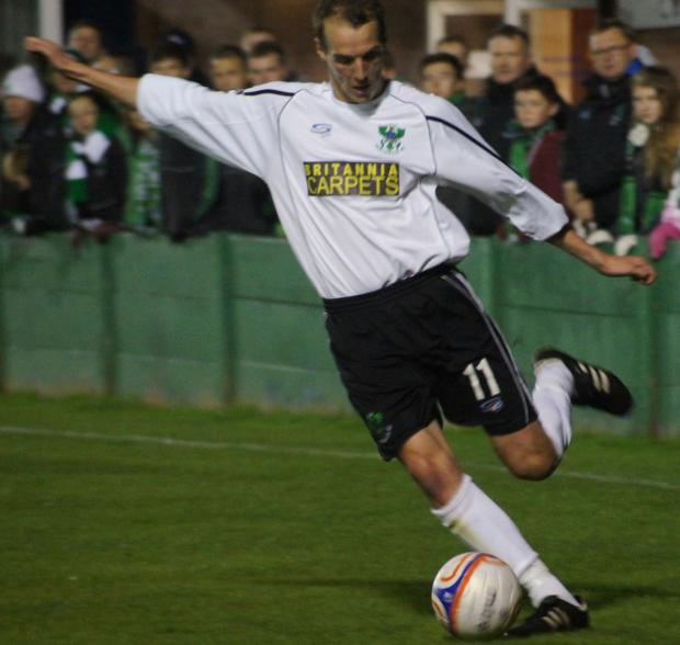 Stuart Wellstead scored twice for 1874 Northwich in a 3-0 win against Widnes Vikings. Picture: Annie Hilditch