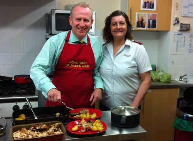 MP Graham Evans at Salvation Army kitchens