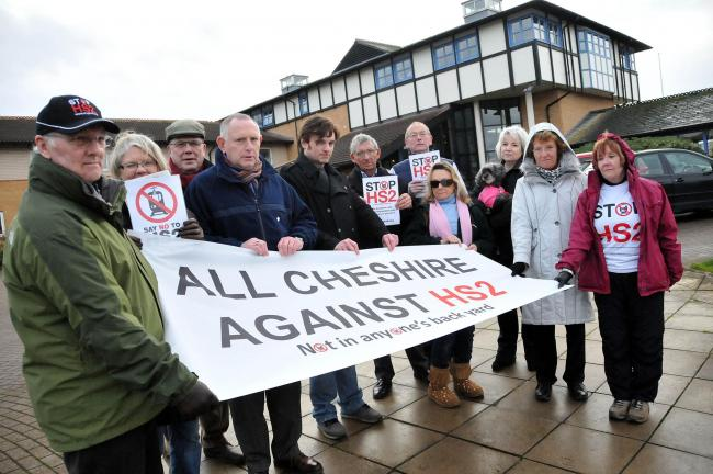 Anti-HS2 campaigners wait for MP George Osborne