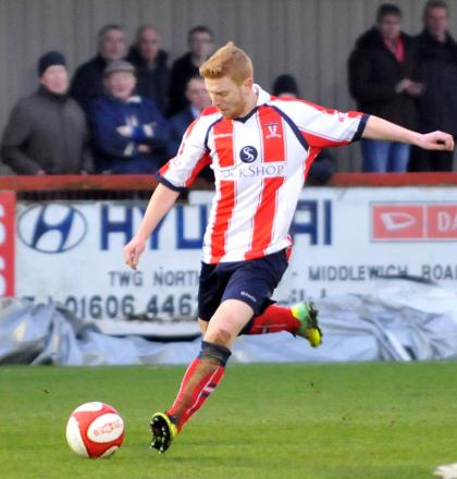 Martyn Jackson in action during Witton's 4-1 win against Stocksbridge last Saturday. Picture: NICK JONES