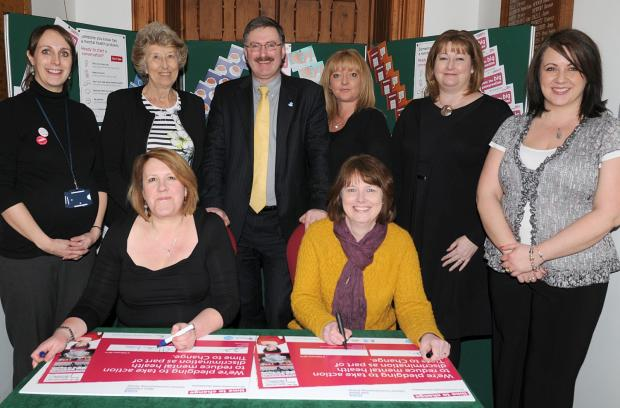 Members of West Cheshire CCG, Vale Royal CCG and Cheshire West and Chester Council sign the pledge.